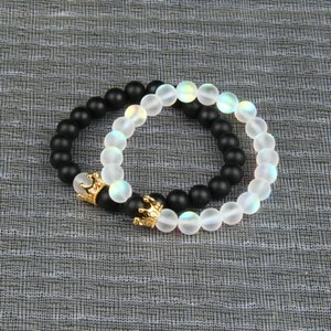 Wholesale New Couples Jewelry Cz Crown Bracelets sets mm Natural Matte Onyx Flash Beads Beaded Bracelet For Love