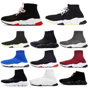 Wholesale Fashion Designer Sock Shoes Women Men Speed Trainer Lace up Triple Black White Red Volt Flat Boots Luxury Mens Sports Casual Sneakers