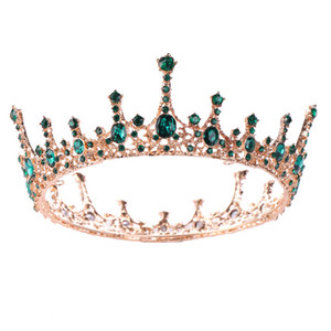 Wholesale Women European American Style Tiara Crown Bride Wedding Fashion Hair Accessories Girls Full Round Queen Party Headpieces