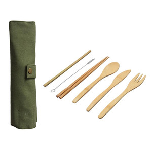 Wholesale Wooden Dinnerware Set Bamboo Teaspoon Fork Soup Knife Catering Cutlery Set with Cloth Bag Kitchen Cooking Tools Utensil