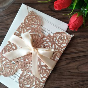 Luxury Rose Gold Rose Laser Cut Wedding Invitation with Champagne Ribbon Silver Gold Blue Champagne Anniversary Sixteen Invite Free Shipping