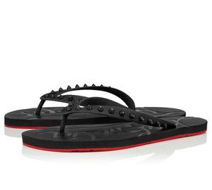 Summer Men Beach Slip On Slides Red Bottom Loubi Flip Flat Sandals Slippers Studs Sandals Flats Luxury Designer Flip Flops Sandalias EU38-46