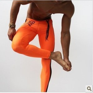JIGERJOGER Full length men's sports Leggings fitness pants neon orange stretch running pants Brand activewear tights acid green