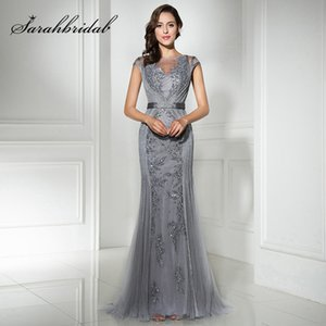Wholesale Fast Shipping in Stock Gray Long Mermaid Evening Dresses with Beaded Sequined Tulle Cap Sleeve Plus Size Women Party Gowns