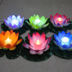 Wholesale Hot new Artificial LED Floating Lotus Flower Candle Lamp With Colorful Changed Lights For Wedding Party Decorations Supplies WCW445