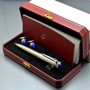 Wholesale Best Christmas Gift Set Top Luxury Carties Branding Ballpoint pen Ball pens Men Cufflinks Jewelry Cuff links with Original Box packaging