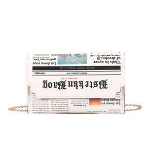Wholesale Women Newspaper Print Design Crossbody Messenger Bag Casual Flap Envelope Bags Day Clutches Purse Chain Shoulder Bag PU Handbag