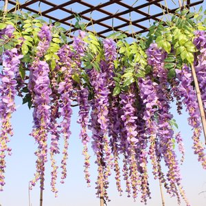 12pcs lot Wedding Decor Artificial Silk Wisteria Flower Vines hanging Rattan Bride flowers Garland For Home Garden Hotel H