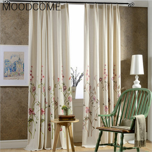 Wholesale 2018 New Arrival Modern American Flowers Cotton Pastoral Embroidered Finished Curtains for Living Dining Sitting Room Bedroom