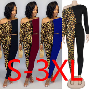 Leopard Patchwork Sexy 2 Piece Sets Womens Outfits Sloping Shoulder Long Sleeve Crop Top and Long Pants Plus Size Two Pieces Set on Sale