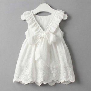 Wholesale Children s skirt Summer Girl dress with white flower lace Embroidered princess skirt Girl s vest Backless Dress Lace C22