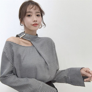 Wholesale women sexy retro chic houndstooth long sleeve shirt plaid thin spring summer T shirt soft O neck girl shirt long top fashion hot sale V9728