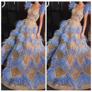 Wholesale 2019 Square Neck Bling Bling Crystal Beaded Blue Feather A-line Prom Dresses Celebrity Gown Evening Party Gowns Custom Online Vestidos