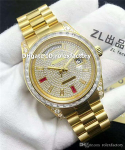 Wholesale ZL New Luxury Watch Swiss Automatic Sapphire Crystal K Yellow Gold Case Diamond Dial Baguette Diamond Bezel Solid Case Back Mens Watch