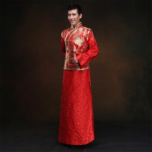 Wholesale Chinese Dresses Groom s Wedding Dresses Dragon and Phoenix Coats Tang Suit Han Fu Traditional Chinese Wedding Men Clothing