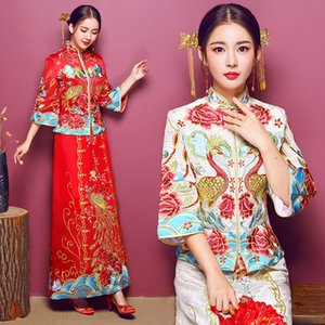 Wholesale National Embroidery Peacock Cheongsam Vintage Women Qipao Chinese Ancient Bride Wedding Dress Gown Stage Performance Clothes