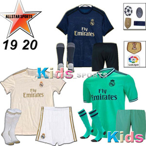 HAZARD 2019 2020 Real Madrid soccer jersey KIDS kits socks 19 20 Football shirt Asensio SERGIO MODRIC RAMOS BALE ISCO child Soccer Sets on Sale