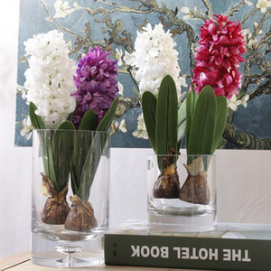 Wholesale flower bulbs resale online - Hyacinth with Bulb Artificial Flower New Year Birthday Party Silk Flower Photography Props for Home Table Decoration