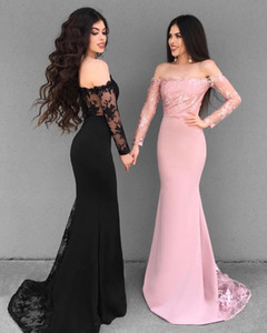 Off the Shoulder Prom Dresses Long Sleeve Mermaid Lace Appliques Formal Evening Gowns 2019 Elegant Bridesmaid Party Gown Sweet 16 Ball Dress on Sale