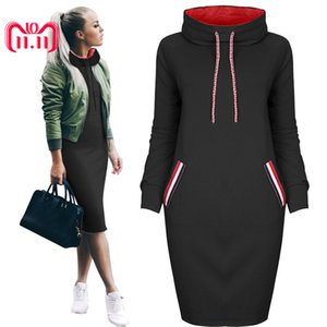 Wholesale Feitong Autumn Winter Women Dress Solid Casual Sweatshirt Hooded Dress Ladies Long Sleeve Mini Dress Vestidos Femininos New Y190425