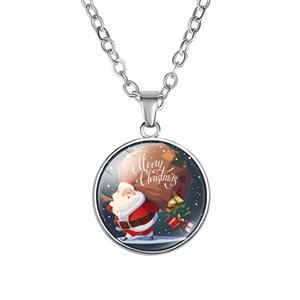 Wholesale Fashion Merry Christmas Cartoon Necklace For Women Men Kids Reindeer tree Santa Claus Bell snowman Pendant Chains festival Jewelry