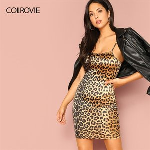 Wholesale COLROVIE Leopard Print Cami Bodycon Slip Party Dress Women Spring Korean Sleeveless Mini Sexy Dress Elegant Ladies Dresses