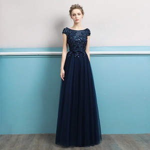 Wholesale hot selling Evening Dresses Long Elegant Navy Blue A-line Short Sleeve Chiffon Lace Embroidery Party Gowns