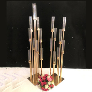 Wholesale Metal Candlesticks Flower Vases Candle Holders Wedding Table Centerpieces Candelabra Pillar Stands Party Decor Road Lead