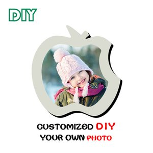 Wholesale High end Apple cutted Wooden Photo Frame Personal Baby Picture Pet Family DIY photo print unique gifts for kids