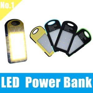 Wholesale Universal Portable Solar Charger power bank waterproof battery charger with LED flashlight external Portable charger for Samsung Note Plu