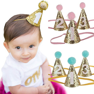 Cute Shiny 1 2 3 Boys Girls Birthday Hats With Hairball Caps Baby Shower Birthday Cake Caps Party Photo Props Kids Party Decor