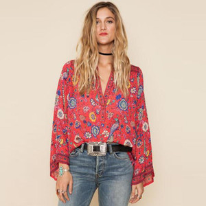 Wholesale O Neck Long Flare Sleeve Boho Hippie Blouses Women Top Red Floral Print Shirts Chic Blusas Casual Beach Shirt Tops