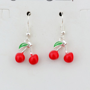 Wholesale Red Enamel Cherry Fruit Charm Earrings Silver Fish Ear Hook pairs Antique Silver Chandelier Jewelry