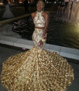 2019 African Sexy mermaid Dress two pieces Pageant prom Dresses 3D flower Sequins sweep train custom made nigeria Evening on Sale