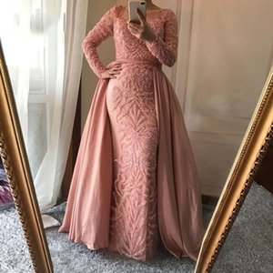 Wholesale 2019 Shining Evening Dresses Sheer Jewel Neck Long Sleeve Bling Bling Rhinestones Mermaid Detachable Train Formal Occasion Prom Dresses