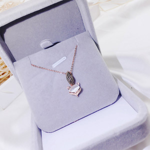 Wholesale 18K gold cute fox pendant necklace Japan and South Korea new girl temperament simple opal necklace Internet Celebrity fashion jewelry