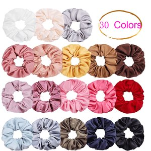 30 Color Women Girls Pure Satin Cloth Elastic Ring Hair Ties Accessories Ponytail Holder Hairbands Rubber Band Scrunchies Sweat Sugar Color