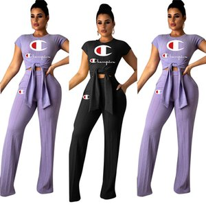 2019 Champions Letter Brand Tracksuit Women Bow Tie T-Shirts Wide Leg Loose Pants 2 pieces Designer Outfits Sports Joggers Clothes Set A3137