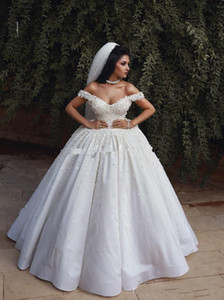 Princess Arabric Ball Gown Wedding Dresses Off Shoulder Floor Length Flowers Beads Church Garden Bridal Gown Plus Size 2019 vestido de novia