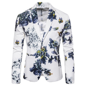 Wholesale Mens Flower Coats Asian Size S M L XL XXL XXXL Mens Blazer Slim Design men jacket Spring and autumn