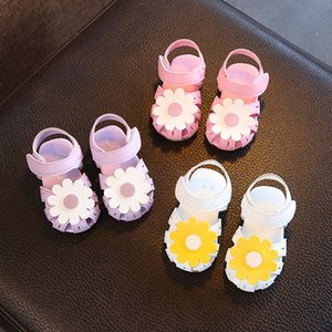 Wholesale infant Indoor Sandals girls 0-1-2-3 Years Old Baby Walking Shoes Soft sole Anti-skid Children Flower Shoes Sunflower Colorful Summer 2019