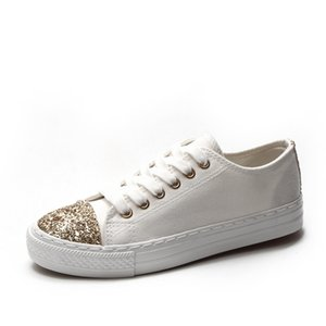 Wholesale Ladies Canvas Shoes Glitter Sneakers Woman New Vulcanized Shoes Female Fashion Lace Up Gold sliver Sequins White Shoes Woman Flats