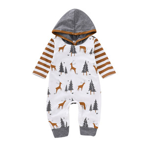 Wholesale Newborn Baby Cartoon Jumpsuit Infant Baby Christmas Deer Tree Hooded Romper Boy Striped Onesies Kids Designer Toddler Girl Bodysuit