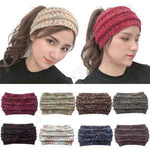 Wholesale Trendy Knit Headband Women Crochet Headwraps Girls Ponytail Caps Hair Band High Stretchy Warm Ribbed Beanie Messy Bun Pony Tail Hat C92405
