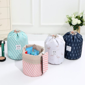 Wholesale Stripes cactus Flamingo lemon flower printed Barrel Bag Travel Cosmetic Make Up Bag Drawstring Elegant Drum Bags Makeup Organizer Storage