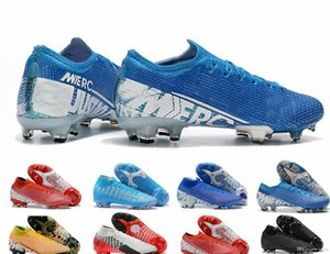 "Football shoes Mercury Vapr 13 Elite FG39-45 Low 13th generation ""New Lights"" knitted face Flyknit360 Blue Red waterproof FG Nail shoes on Sale"