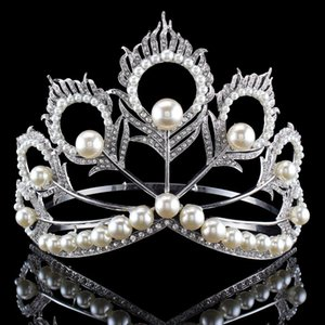 Wholesale New Arrival Big Size Miss Universe Same Crown Full Round Adjustable Silver Pearl Peakcock Feather Tiara Pageant Y19051302