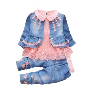 Wholesale Toddler Girl clothes New spring Autumn wear baby cowboy clothing sets Kids baby cowboy suit children clothing sets