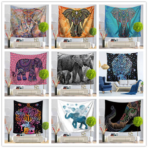 180Designs Wall Hanging Tapestry Elephant Map Print Beach Towel Shawl Bohemian Mandala Yoga Mats Tablecloth Polyester Tapestries Home Decor