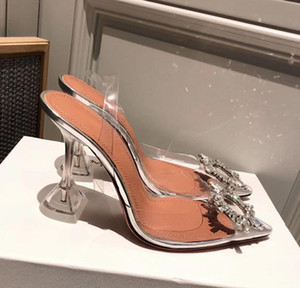 Perfect Official Quality Amina Shoes Begum Crystal-embellished Pvc Slingback Pumps Muaddi Restocks Begum Pvc Slingbacks 5cm High Heel